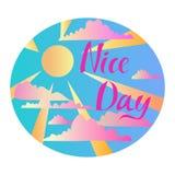 Paisaje del extracto del ejemplo del vector con el cielo azul, el sol, los rayos de sol y las nubes para el anuncio ilustración del vector