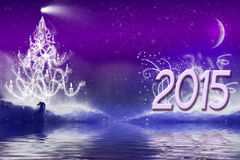 Paisaje del fondo de la bandera del saludo del Año Nuevo 2015 Fotografía de archivo libre de regalías
