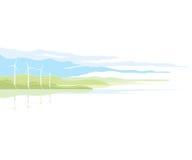 Paisaje del generador de viento ilustración del vector