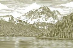 Paisaje del grabar en madera con la montaña fotografía de archivo libre de regalías