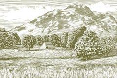 Paisaje del granero y de la montaña del grabar en madera fotos de archivo libres de regalías
