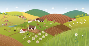 Paisaje del granjero de la primavera Foto de archivo libre de regalías