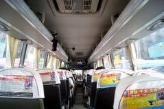 Paisaje del interior del autobús de larga distancia imagen de archivo