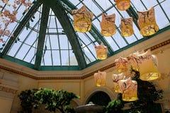 Paisaje del invernadero del hotel de Bellagio y de jardines botánicos en Las Vegas fotos de archivo libres de regalías