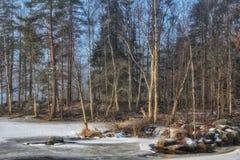 Paisaje del invierno del agua del lago ice al aire libre Imagen de archivo libre de regalías