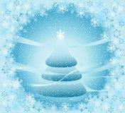 Paisaje del invierno con el árbol de navidad stock de ilustración