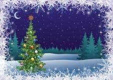 Paisaje del invierno con el árbol de navidad Fotos de archivo libres de regalías