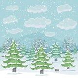 Paisaje del invierno con el bosque stock de ilustración