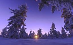 Paisaje del invierno con el bosque, el cielo nublado y el sol Imágenes de archivo libres de regalías