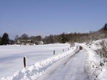 Paisaje del invierno con el camino Foto de archivo