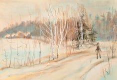 Paisaje del invierno con el camino y el hombre ilustración del vector