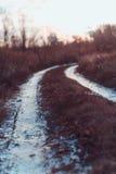 Paisaje del invierno con el camino en el día escarchado Imágenes de archivo libres de regalías