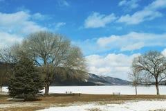 Paisaje del invierno con el cielo azul y las nubes brillantes Imagen de archivo libre de regalías
