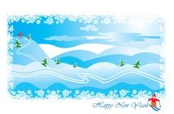 Paisaje del invierno con el esquiador stock de ilustración