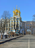 Paisaje del invierno con el palacio de Catherine Imágenes de archivo libres de regalías
