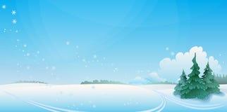 Paisaje del invierno con el prado y furtrees. ilustración del vector