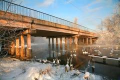 Paisaje del invierno con el puente Fotografía de archivo