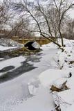 Paisaje del invierno con el puente Imagen de archivo