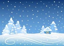 Paisaje del invierno con la casa Foto de archivo libre de regalías