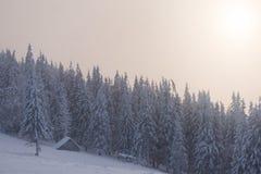Paisaje del invierno con la casa de madera en las montañas fotografía de archivo