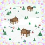 Paisaje del invierno con la casa de la montaña, árboles, teleférico, esquís en un marco del confeti reconstrucción Ski Holidays ilustración del vector