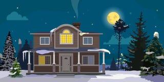 Paisaje del invierno con la casa y el bosque grandes en fondo Noche, luna, árboles, nubes Ilustración de la historieta del vector Foto de archivo libre de regalías