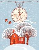 Paisaje del invierno con la casa y los árboles nevados stock de ilustración