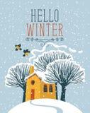 Paisaje del invierno con la casa y los árboles nevados ilustración del vector