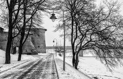 Paisaje del invierno con la torre de la intercesión de Pskov en el fondo el terraplén nevado Fotografía de archivo libre de regalías