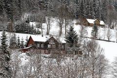Paisaje del invierno con las cabañas fotografía de archivo