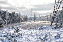 Paisaje del invierno con las electro líneas Fotografía de archivo libre de regalías
