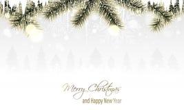 Paisaje del invierno con las ramas de oro, los copos de nieve, las nevadas, los carámbanos y los árboles coníferos en el horizont libre illustration