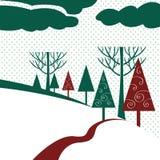 Paisaje del invierno con los árboles Libre Illustration