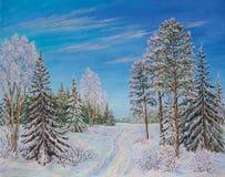 Paisaje del invierno con los árboles del camino y de pino en la nieve en una lona Pintura al óleo original fotos de archivo