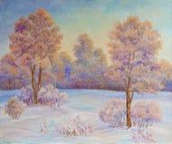 Paisaje del invierno con los árboles en la nieve en una lona Pintura al óleo original ilustración del vector