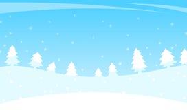 Paisaje del invierno con los árboles y la nieve que cae Imágenes de archivo libres de regalías