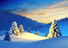 Paisaje del invierno con los abetos libre illustration