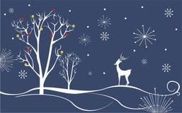 Paisaje del invierno con los ciervos Imágenes de archivo libres de regalías