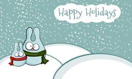 Paisaje del invierno con los conejos divertidos Fotografía de archivo libre de regalías