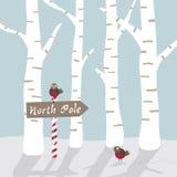 Paisaje del invierno con los pájaros y la muestra ilustración del vector