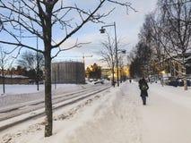 Paisaje del invierno con los ?rboles y los edificios alrededor bajo reflejo de luz del cielo azul y del sol del edificio imágenes de archivo libres de regalías