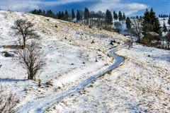 Paisaje del invierno con un camino nevoso del campo en las montañas Foto de archivo