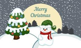 Paisaje del invierno con un muñeco de nieve Imagen de archivo libre de regalías