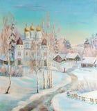Paisaje del invierno con un templo stock de ilustración