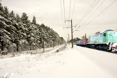 Paisaje del invierno con un tren Imagen de archivo libre de regalías