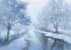 Paisaje del invierno con una acuarela del río Imágenes de archivo libres de regalías