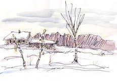 Paisaje del invierno de la acuarela Imagen de archivo