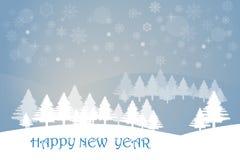 Paisaje del invierno de la Feliz Año Nuevo Fotos de archivo libres de regalías