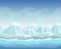 Paisaje del invierno de la historieta con el fondo inconsútil de la naturaleza del vector de las montañas de la nieve para los ju Imagen de archivo libre de regalías