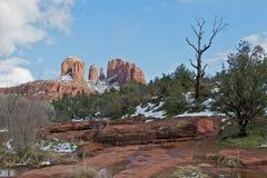Paisaje del invierno de la roca de la catedral Fotografía de archivo